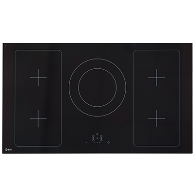 <span>90CM WIDE, 5 ZONE INDUCTION</span>BLACK GLASS